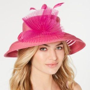 August Hats Sheer Stripe Romantic Hat Fucsia Pink